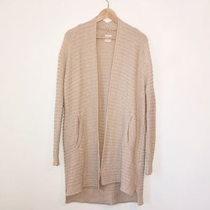 Oak + Fort Knit Creamy Beige Long Cardigan